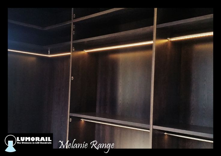 Our illuminated closet rail' The Melanie' A heavy duty double skinned Stainless Steel Rail, specifically designed for use as a closet hanging rail. This is available in a range of lengths and light options including colour changing. www.lumorail.com.au for more info