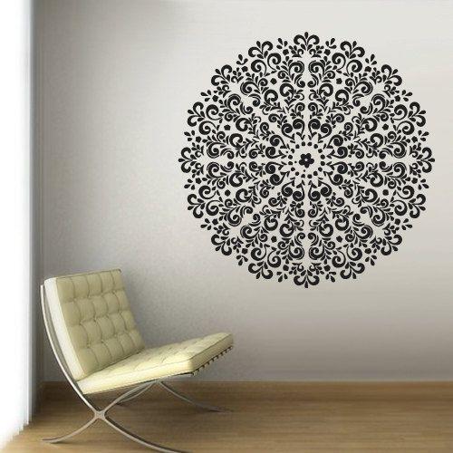 Wall Decal Vinyl  Mural Sticker Art Decor Bedroom Yoga Kitchen Ceiling Mandala Menhdi Flower Pattern Ornament Om Indian Hindu Buddha (z2886)...