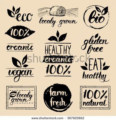 Vector eco organic bio logos. Handwritten healthy eat retro logo set. Vegan, organic, healthy, natural food and drink logos. Farm market, store logo collection. Raw, healthy, vegan food badge, labels. - stock vector