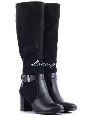 Czarne damskie kozaki zamszowe na obcasie www.lamai.pl