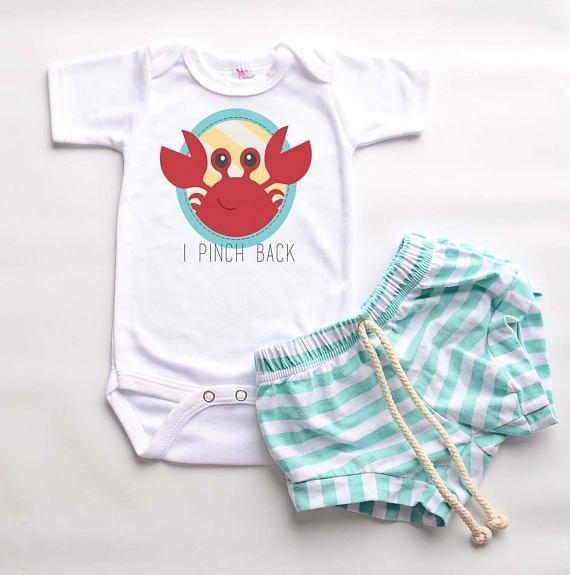 2f30567fb62 Unisex baby clothes summer baby bodysuit crab infant outfit