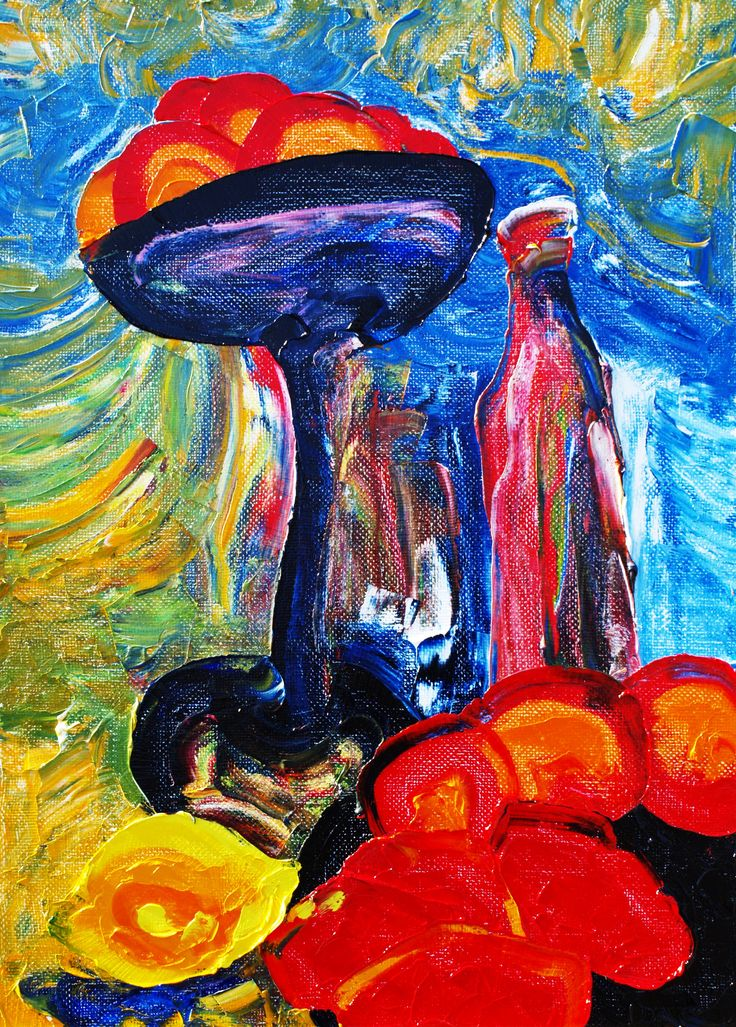 Still life with red bottle. (Series - Turkestan). Oil on canvas, 70-50, 1975.