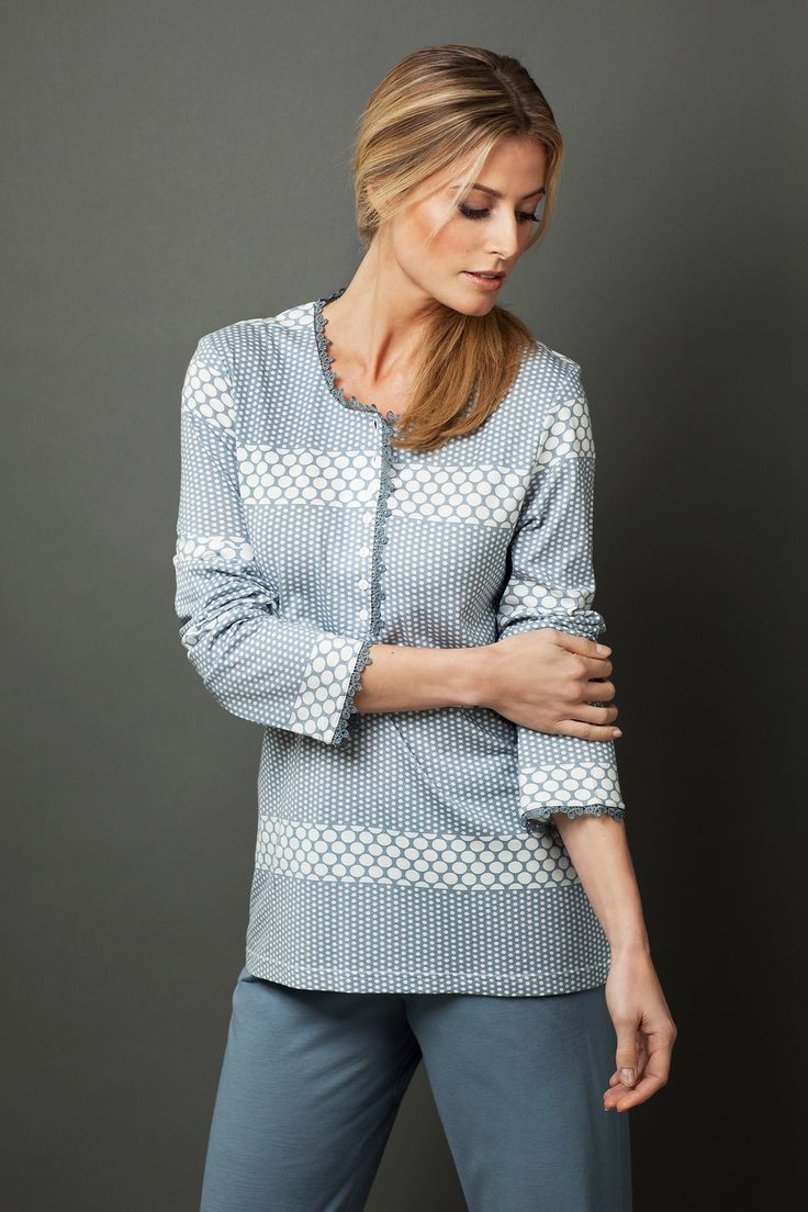 "Pyjama with ""spots & dots"" in in a bold blocked pattern that works - Ideal for those cold mornings when you just want to stay in bed a little longer!"