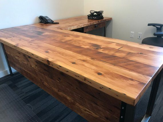 L Shaped Desk Desk With Modesty Panel Desk With Privacy Etsy L Shaped Desk Reclaimed Wood Desk Rustic Desk