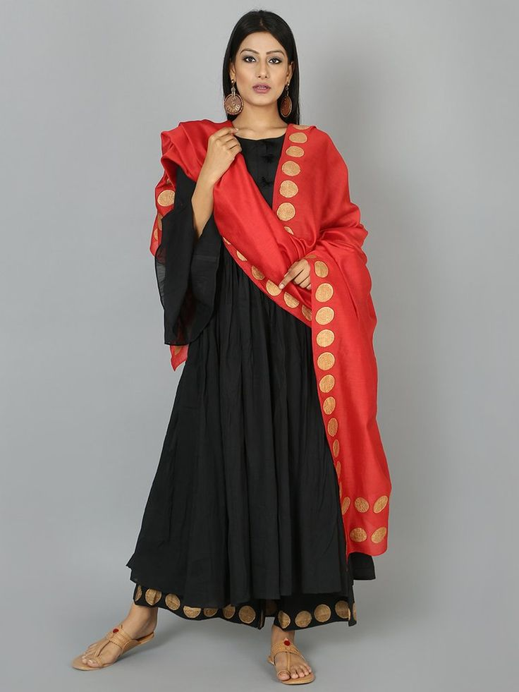 Red Golden Polka Block Printed Chanderi Dupatta