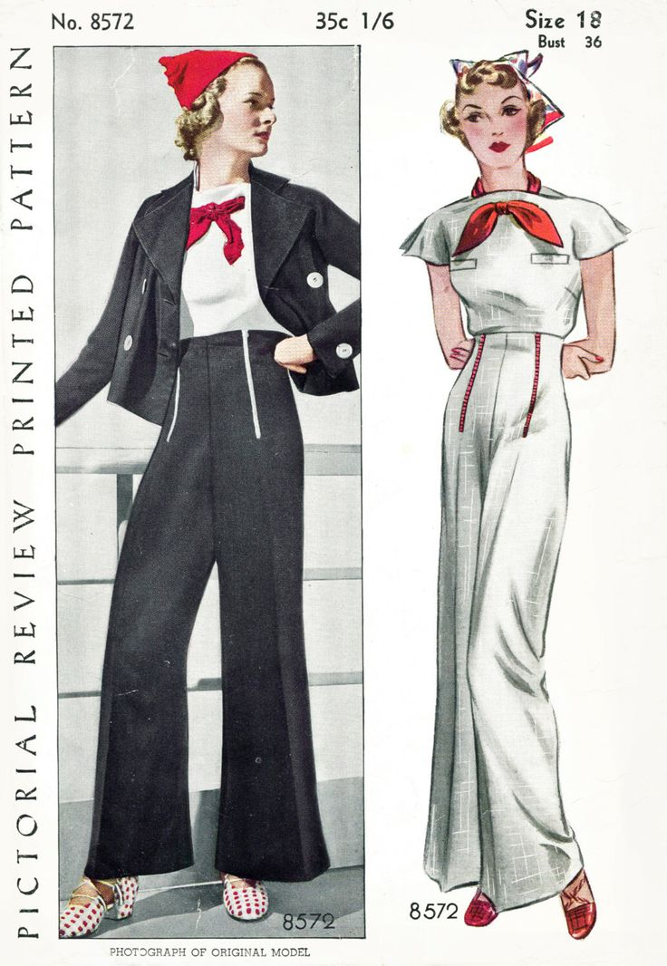 30s 1930s repro vintage women's sewing pattern sailor blouse nautical suit pants trousers jacket black blue white red bust 36 b36 Pictorial Review 8572 reproduction by LadyMarloweStudios on Etsy https://www.etsy.com/listing/292946749/30s-1930s-repro-vintage-womens-sewing