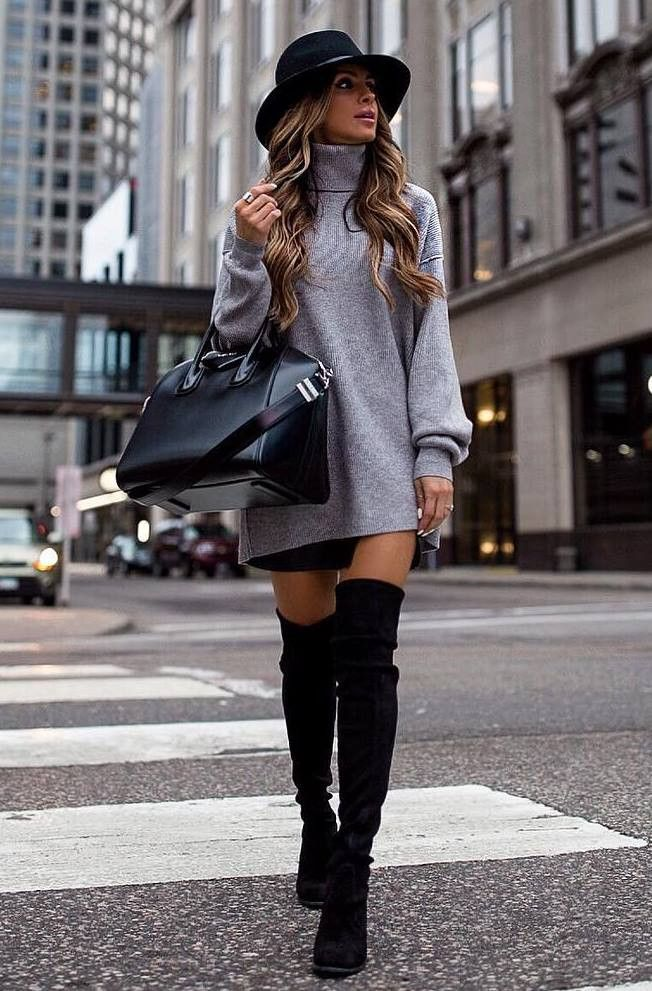 29860f47163 30 Chic Outfits To Wear On Thanksgiving Day. what to wear with a sweater  dress   hat bag over knee boots