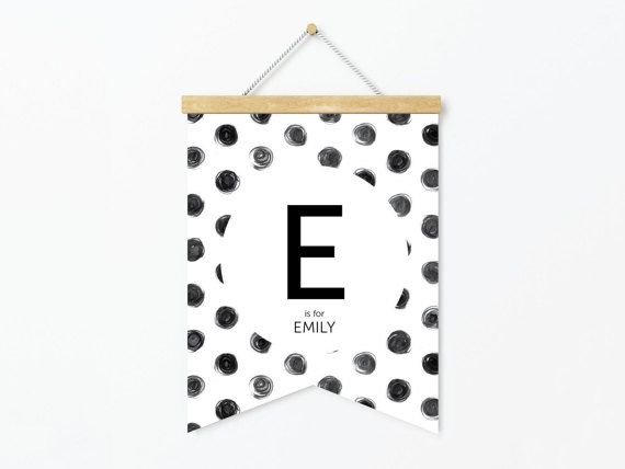 Custom Name Banner Print  Black And White Spot by StaceyLeeLoves