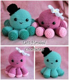 Crothet Octopus (very cool way to attach the legs!) More