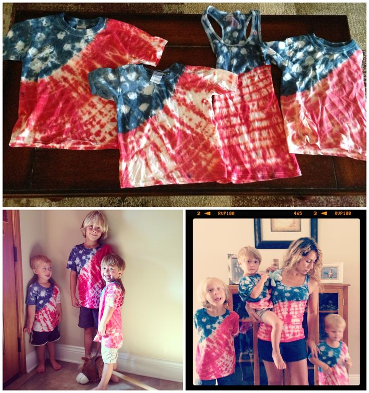 American Flag tie-dye shirts for the 4th! Link with how to make them and our experience! :)