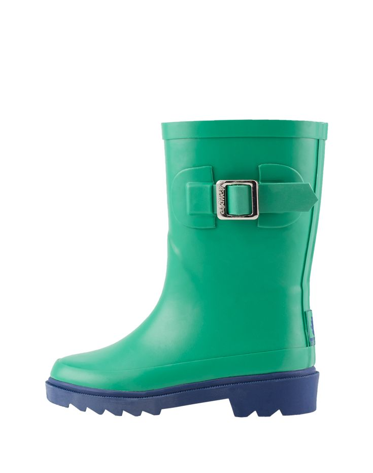Kid's Buckle Rubber Rain Boots Green & Navy | Oaki - Rain Gear, Kids rain suits, kids waders, kids rain gear, and kids rain coats