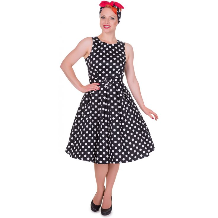 Annie Retro Swing Dress in Black and White Dots - £39.99 -  www.dollyanddotty.co.uk