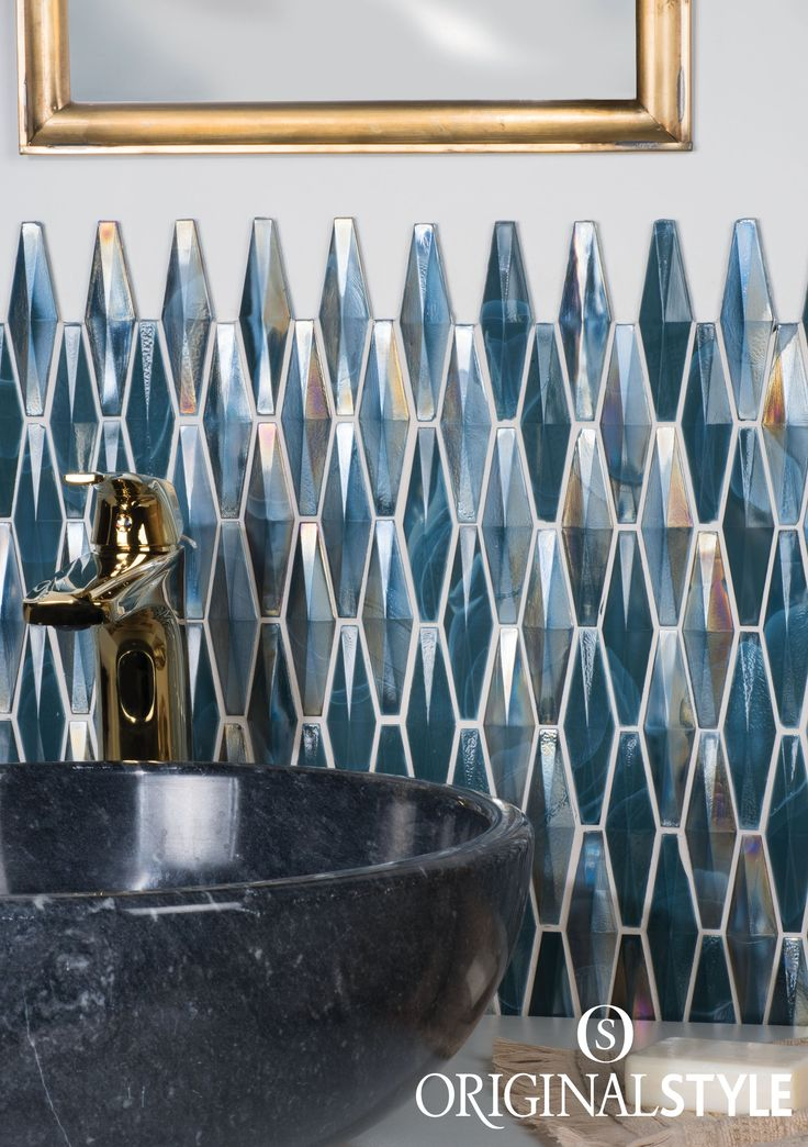 Use these dark iridescent Solitaire tiles from the Mosaics range by Original Style to add drama to your decorative bathroom or kitchen. Tile a panel, splashback or bathroom alcove to create a dramatic effect.