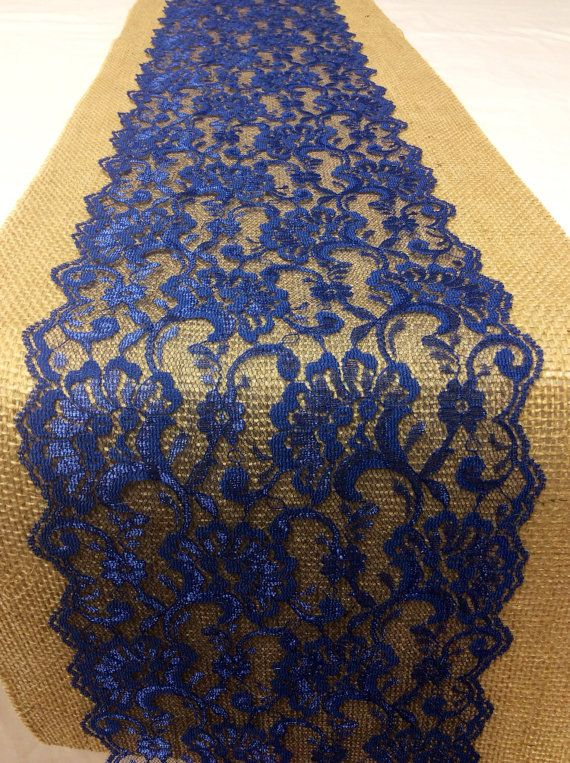 30 Burlap Lace Table Runner With Navy Blue By