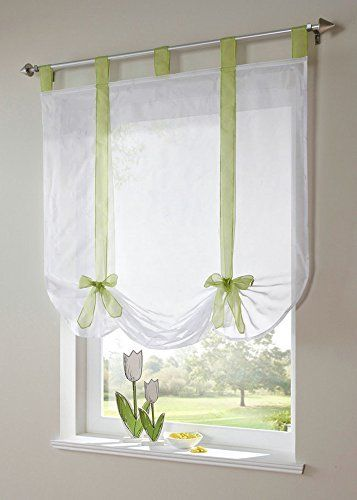 Uphome 1pcs Cute Bowknot Tie-Up Roman Curtain - Tab Top Sheer Kitchen Balloon Window Curtain39 x 55 InchGreen
