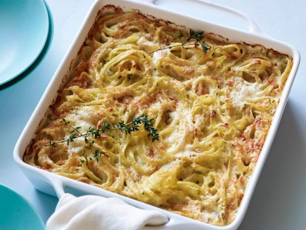 It takes just a few ingredients to prepare Giada's Cheesy Baked Pasta, laced with Asiago cheese and fragrant thyme.  #RecipeOfTheDay