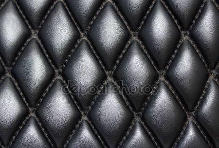 Fundo preto couro acolchoado — Fotografia de Stock