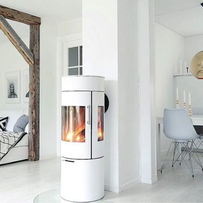 Beautiful and round white Viva L stove from #rais