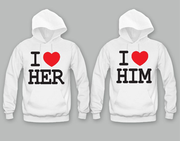 I Love Her - I Love Him Unisex Couple Matching Hoodies