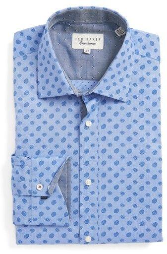 Ted Baker Men's Big & Tall Midra Trim Fit Paisley Dress Shirt
