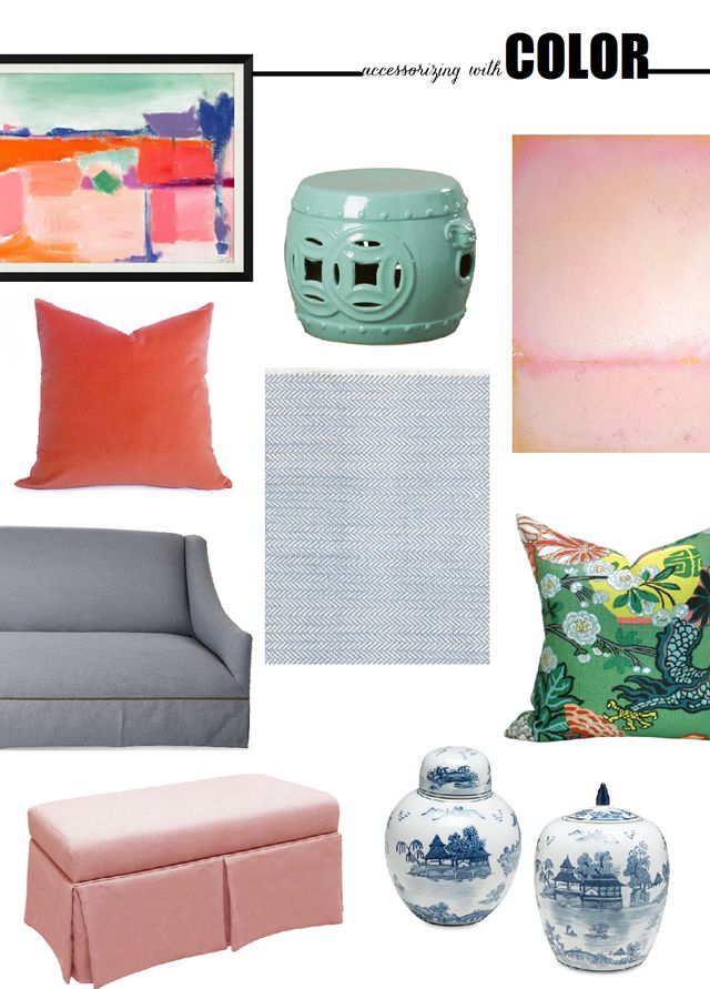Colorful home decor accessories for Spring #BHGcolor (abstract art, mint green garden stool, blush pink bench, gray skirted sofa, blue herringbone rug, chiang mai dragon pillow, blue and white ginger jars)
