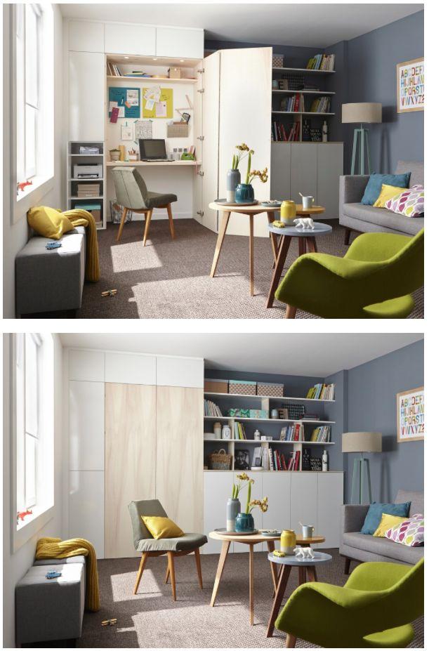 cacher son bureau dans un placard archi petits espaces pinterest salons bureaus and desks. Black Bedroom Furniture Sets. Home Design Ideas