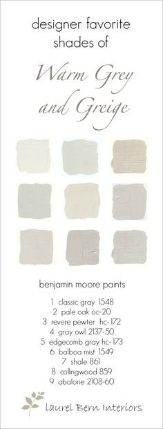 Nine Fabulous Benjamin Moore Warm Gray Paint Colors - laurel home | wonderful neutral paint colors #nofailpaintcolors #gustavianpaintcolors