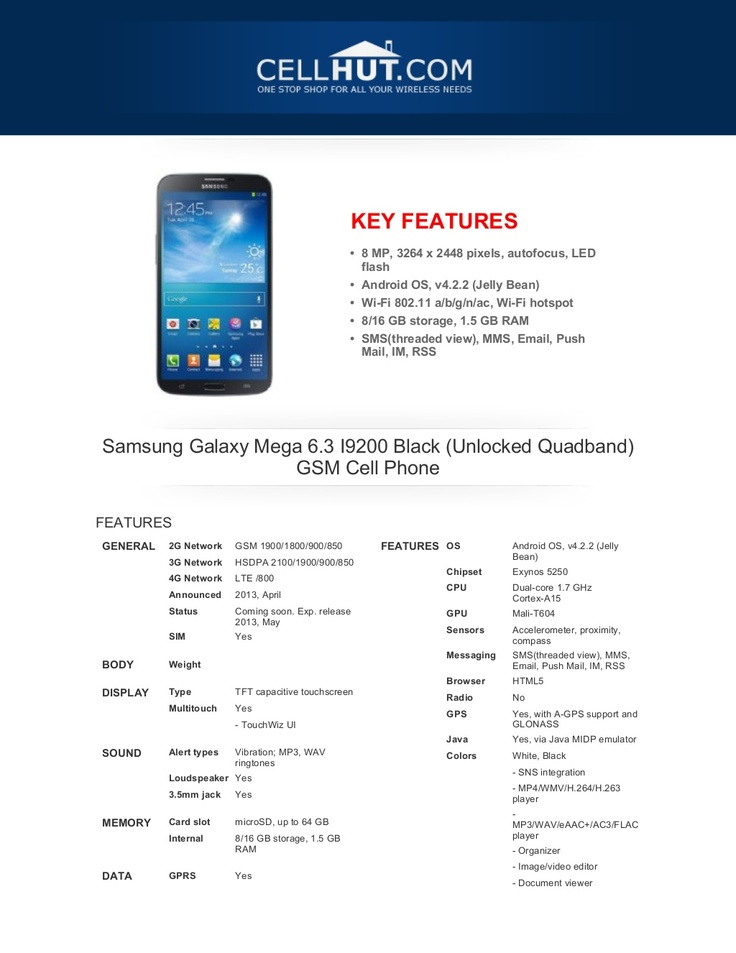 samsung-galaxymega63i9200blackunlockedquadbandgsmcellphone-brochure33684 by Cellhut via Slideshare