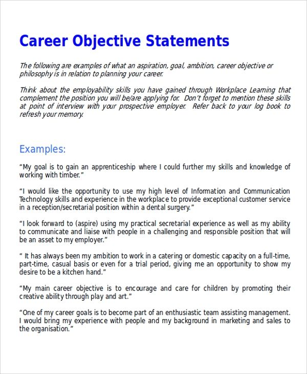 7 Sample Career Objective Statements Sample Templates