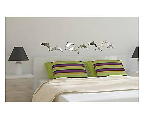 Set di specchi da parete in plexiglass delfini - 9 pezzi