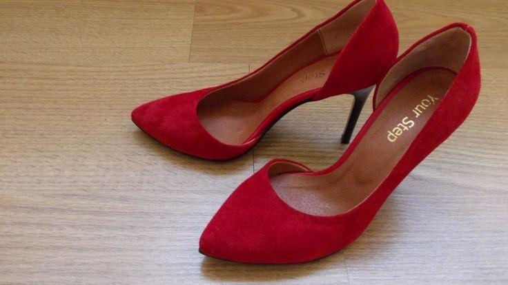 Красные замшевые открытые туфли-лодочки