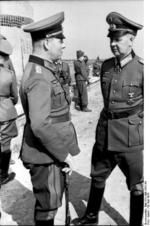 German Army Field Marshal Erwin Rommel and General Adolf Kuntzen at the Atlantic Wall near Ouistreham, Normandy, France, 30 May 1944