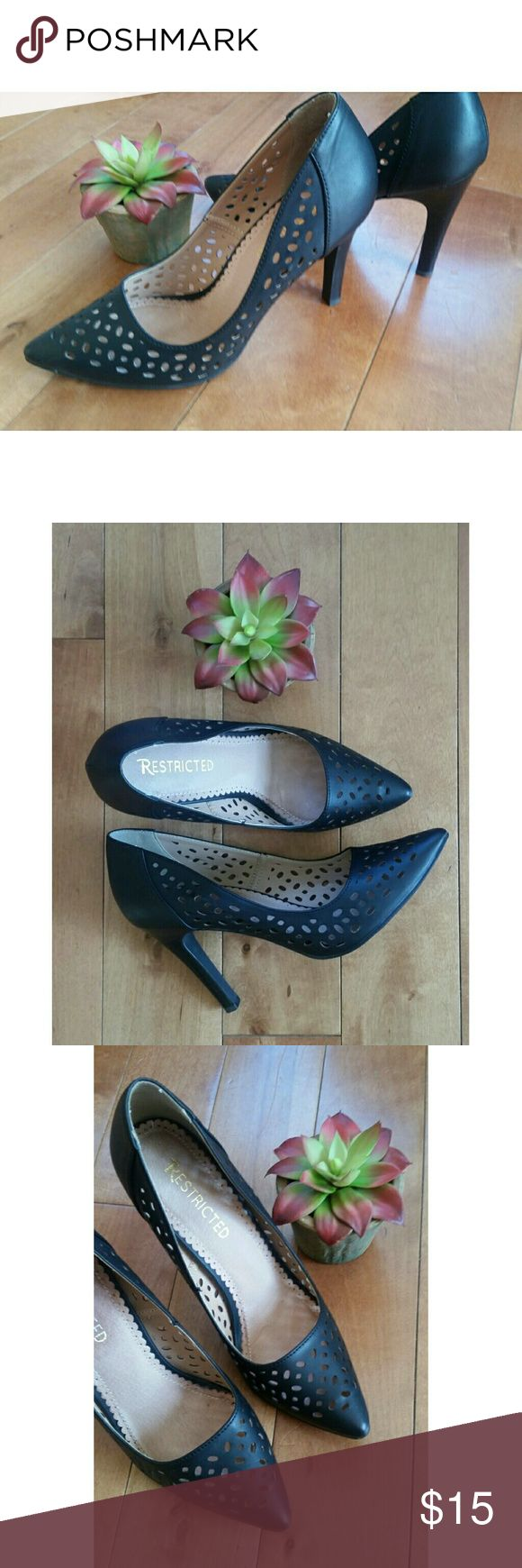 Restricted black laser cut pumps/heels sz 7! Restricted black heels size 7!! Laser cut design adds detail, a fun alternative to the classic black heel! These are in excellent condition! Restricted Shoes Heels