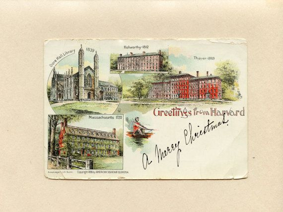 Harvard College Boston MA Vintage Postcard Thayer by datedpaper