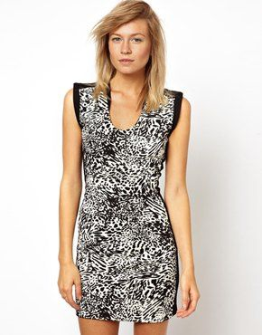 Mango Animal Print Bodycon Dress