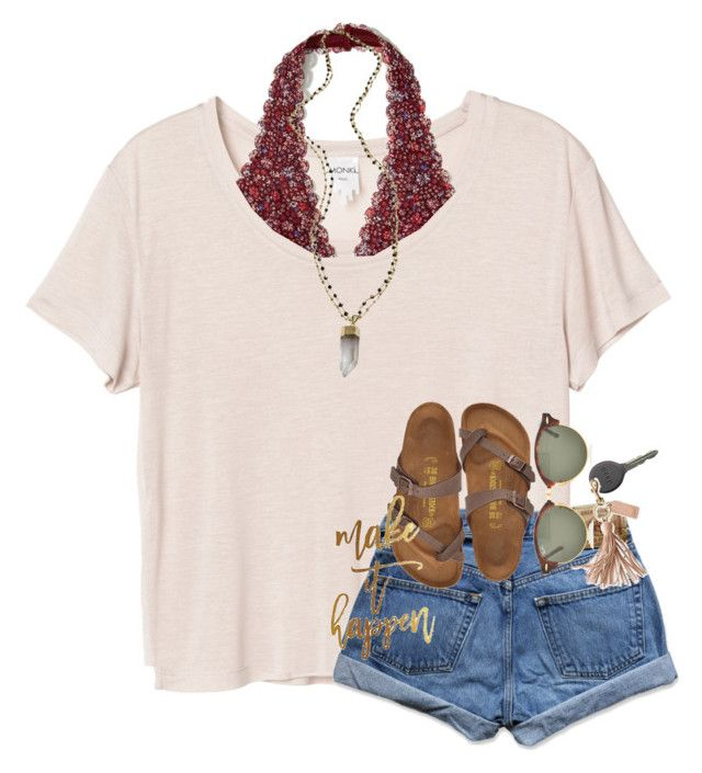 """""""Make it happen"""" by mallorykennerly ❤ liked on Polyvore featuring Monki, Hollister Co., Abercrombie & Fitch, Birkenstock, Alexandra Beth Designs, Ray-Ban, Cherokee and Mark & Graham"""