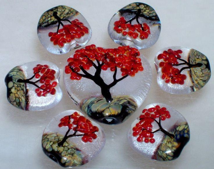 wstgaautumn reds15 floral fall tree handmade lampwork focal glass bead