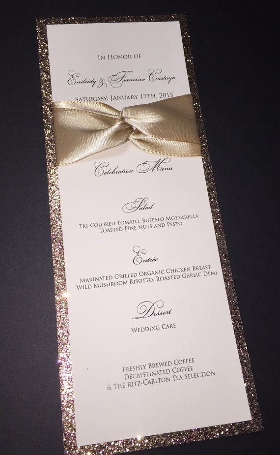 Glitter Wedding Menu Elegant Formal Wedding by