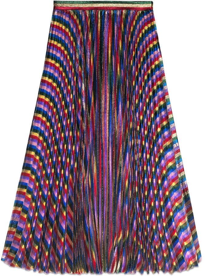 3098e7ade Iridescent pleated skirt - Gorgeous Gucci skirt: The rainbow is a strong  motif throughout Alessandro Michele's collections. The iridescent mix of  colors add ...