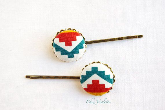 Set of 2 Hair pins ethnic / Aztec fabric Hairpin by CocoFlowerShop