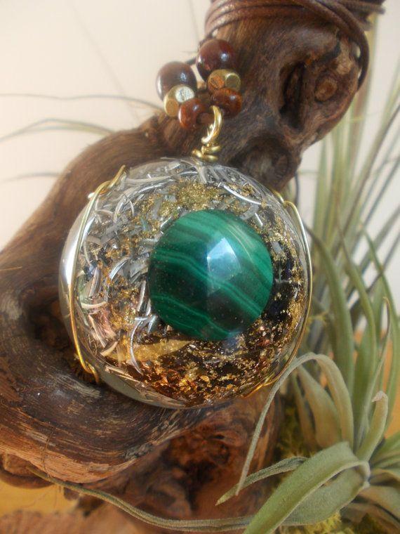 Orgone orgonite pendant malachite with gold rim, $42.99