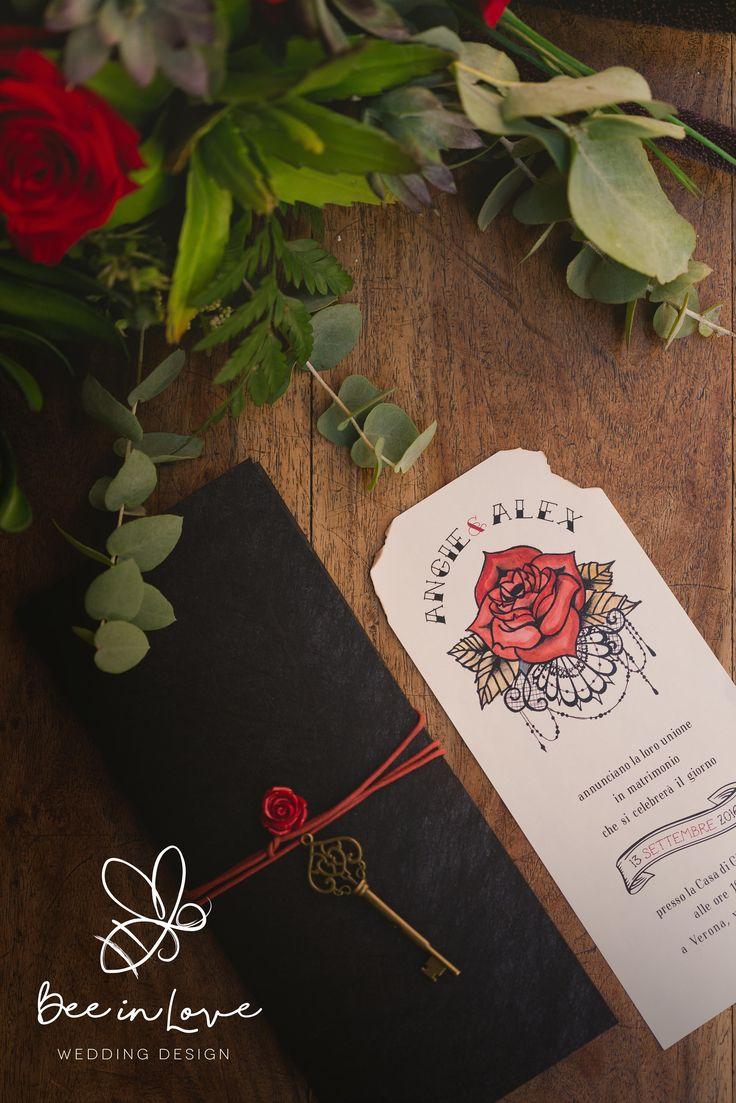 """""""Rock Juliet"""" wedding stationery design created by Bee in Love - coordinato grafico matrimonio personalizzato Carta Favini Twist Nera"""
