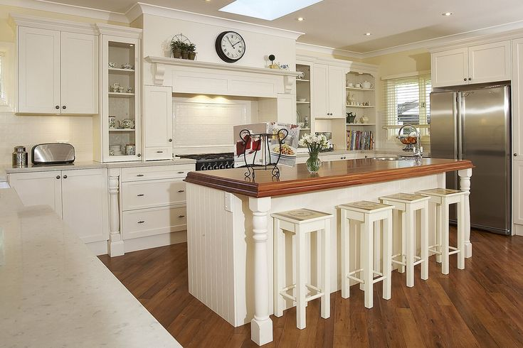 Lovely Kitchen, Sweet French Provincial Kitchen Design Awesome Cream Color Schemes White Wooden Top Coffee Table White Oak Painting Kitchen Bar Stool Harwood Laminate Foor Wooden Teak Top U Shape White Painting Kitchen Cabinet: Built Your Top Kitchen Designs With Granite For Kitchens