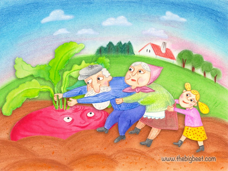 (7/14) The granddaughter grabbed her grandma, and grandma grabbed grandpa, and grandpa grabbed the beet, and together they pulled, but they still couldn't pull the beet out of the ground.