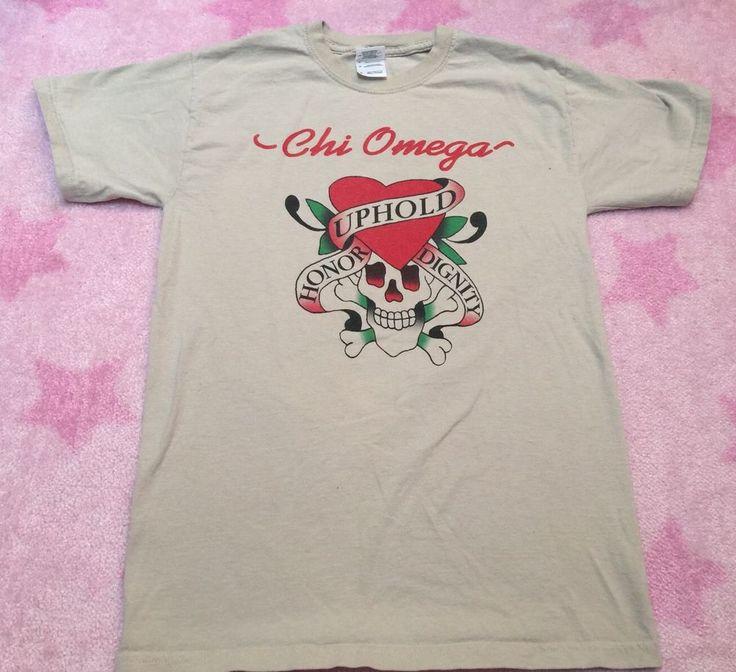 Chi Omega tee Shirt Size MEDIUM women's fraternity Dignity & Honor Skull Sz S