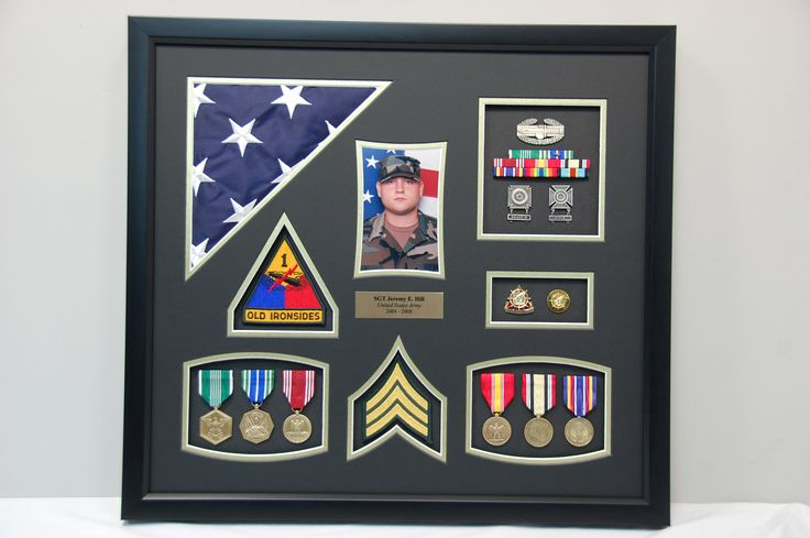 how to attach items in a military shadow box 1