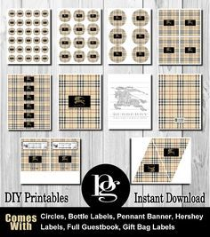 burberry printable, burberry party, burberry birthday party, burberry party favors, burberry party supplies, burberry decorations, burberry theme, burberry stickers, burberry labels, burberry tags, burberry candy labels, diy burberry, burberry decor