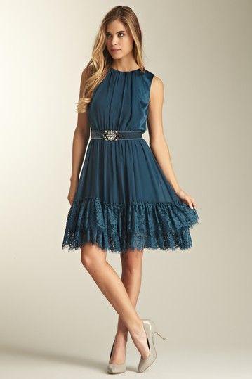 Belted Lace Hem Dress
