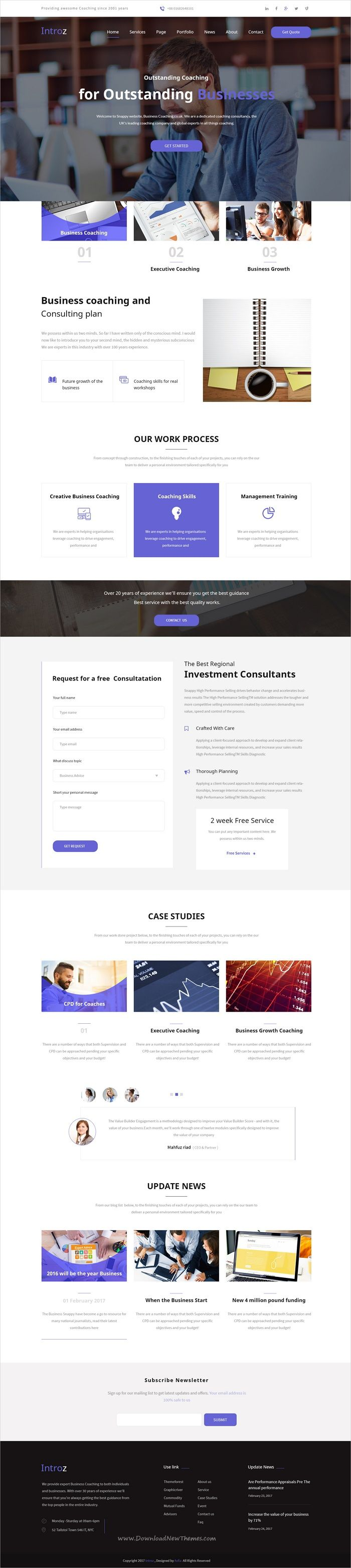 Introz is clean and modern design PSD #template for business, #coaching and training #consultancy website with 14 layered PSD files download now..