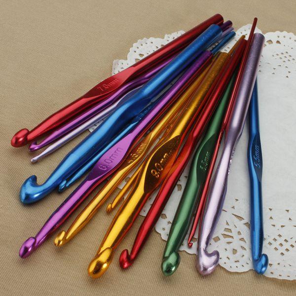14 Size Aluminum Durable Crochet Crocheting Hooks Knitting Needles